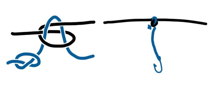 Способ привязывания поводка с крючком к леске