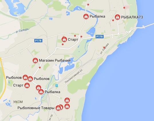 Карта рыболовных магазинов в Ульяновской области