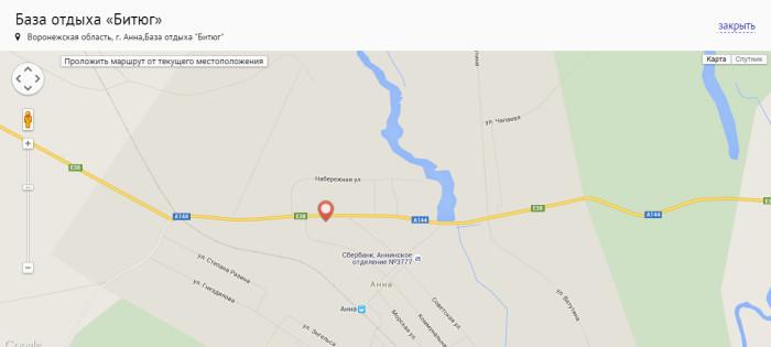 "Карта базы отдыха ""Битюг"""