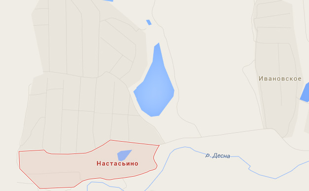 Карта с местом расположения пруда