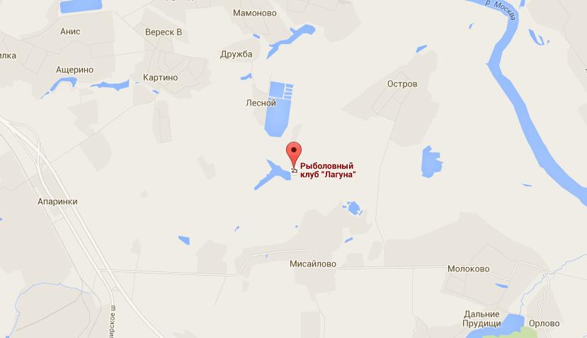 """Карта расположения рыболовного клуба """"Лагуна"""""""