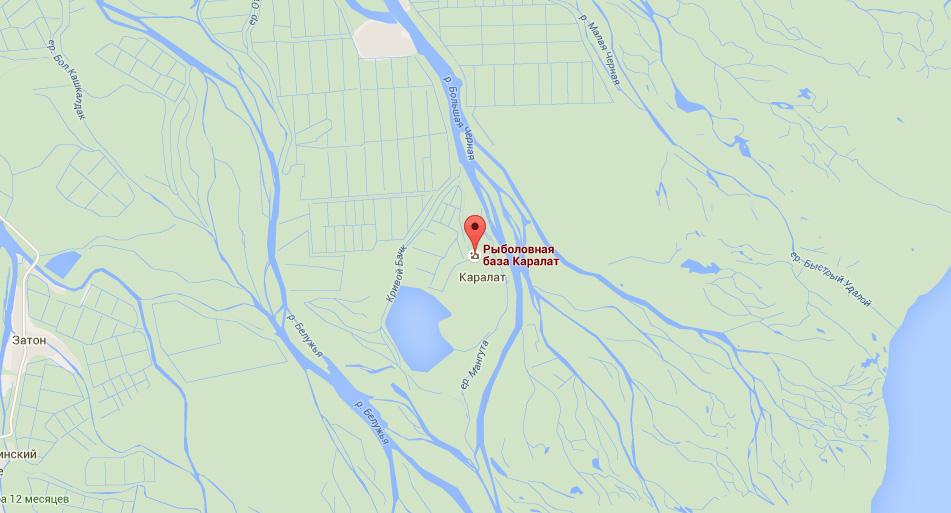 Карта с местом расположения рыболовной базы «Каралат»