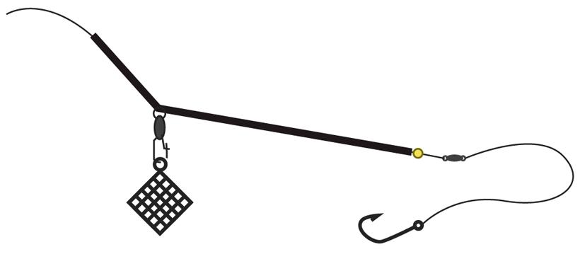 Фидерный монтаж с трубкой противозакручивателем